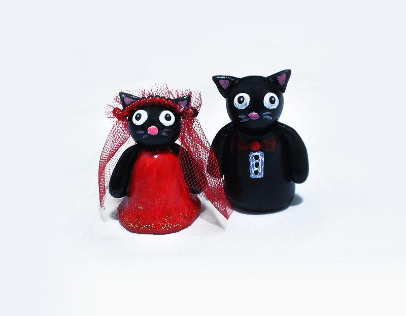 Свадьба - Cat Cake Topper, Wedding Cake Topper, Polymer Clay Cat Cake Topper, Kitty Cake Topper