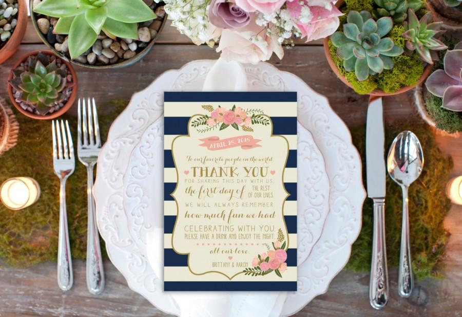 Mariage - PRINTABLE Custom Thank You Reception Card // Reception Decor // Thank You Card // Nautical Wedding Decor // DIGITAL