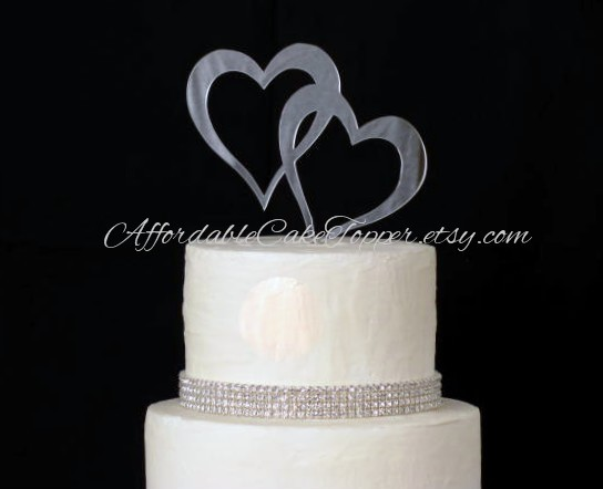 Elegant Heart Cake Topper   Double Heart Cake Topper   Two Hearts Cake Topper   Wedding  Cake Topper   Mr And Mrs   Bride And Groom