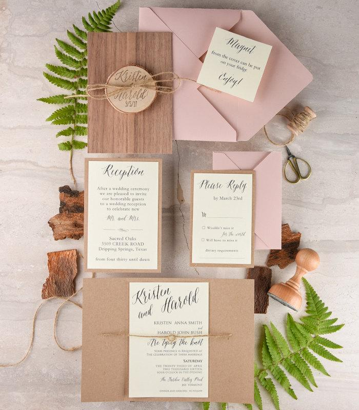 Rustic Wedding Invitation And Rsvp 20 Real Wood Wedding
