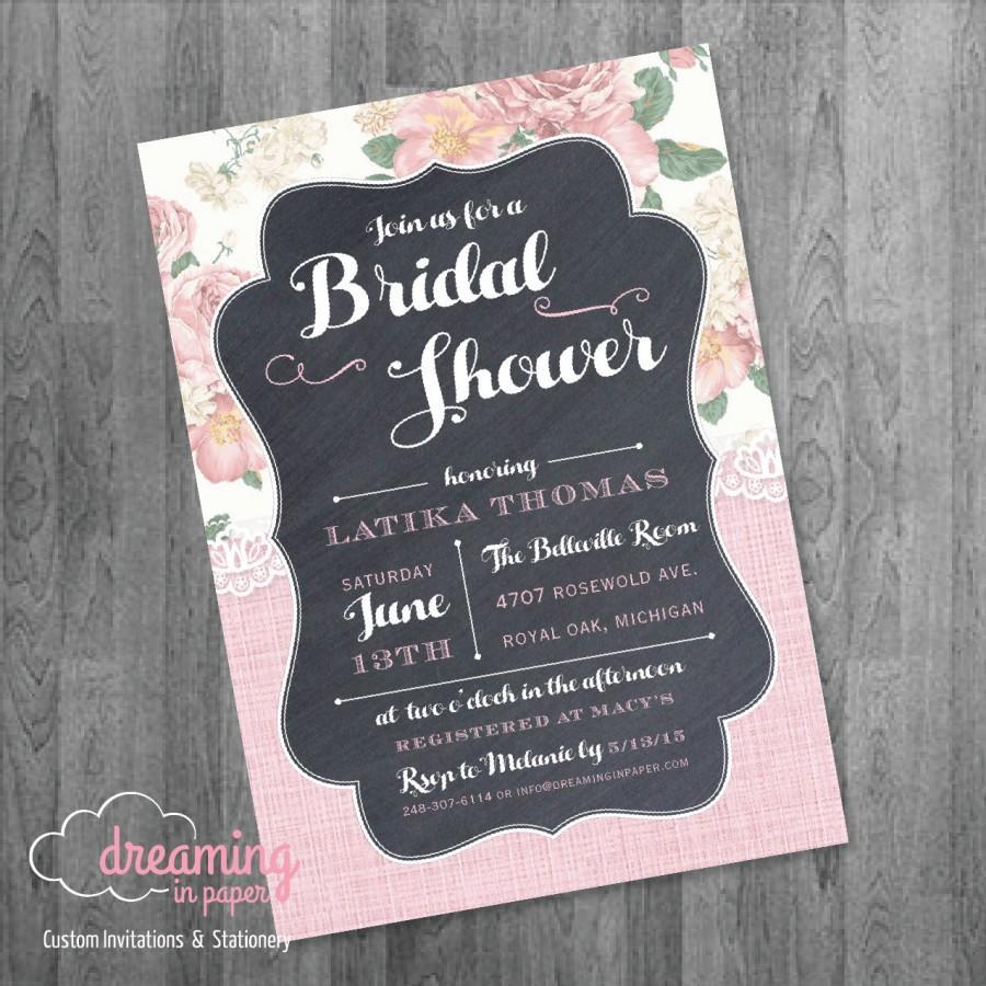 زفاف - Lace and Flowers Bridal or Baby Shower Invitation with Chalkboard Accents