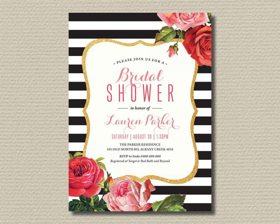 printable bridal shower invitation black and white stripes with