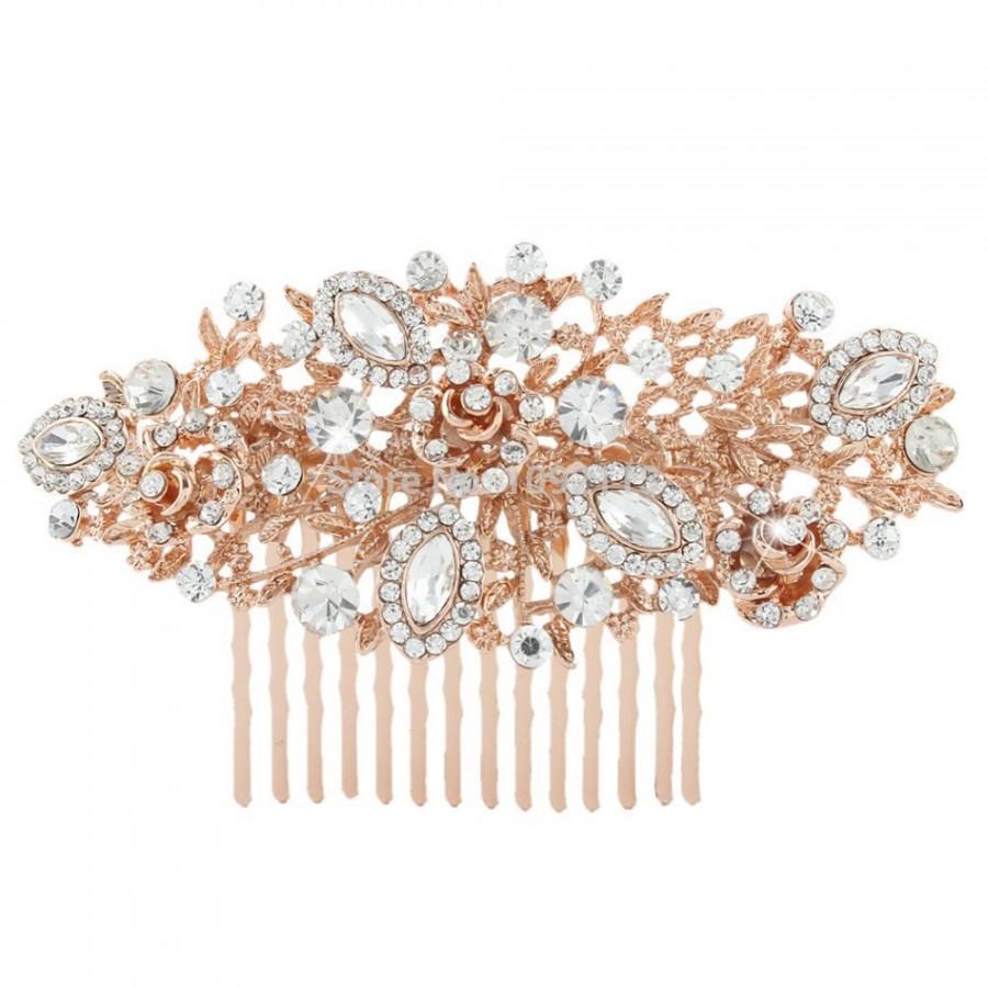 Rose gold wedding hair accessories - Rose Gold Bridal Comb Wedding Hair Comb Rose Gold Bridal Jewelry Bridal Hair Accessories Rose Gold Hair Comb Blush Pink Bridal