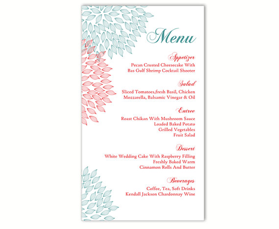 Wedding Menu Template DIY Card Editable Text Word File Instant Download Blue Red Floral Printable 4x7inch