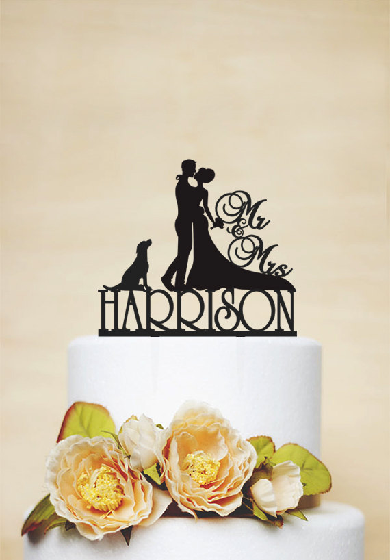 Свадьба - Mr & Mrs Wedding Cake Topper, Custom Cake Topper With Last Topper, Personalized Cake Topper With A Dog,Acrylic Decoration-C050