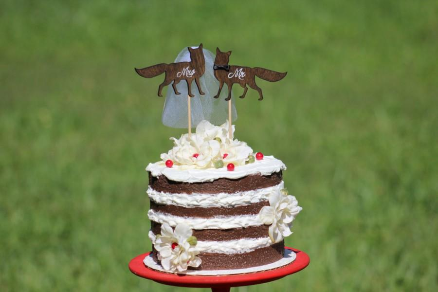 Mariage - Fox Wedding Cake Topper - Mr & Mrs -  Rustic Country Chic Wedding