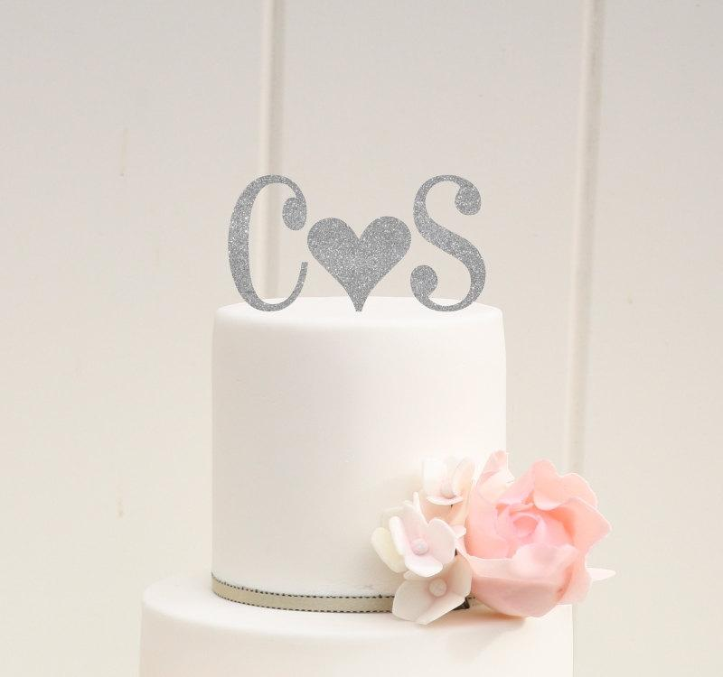 Mariage - Personalized Glitter Heart Monogram Wedding Cake Topper with YOUR Initials