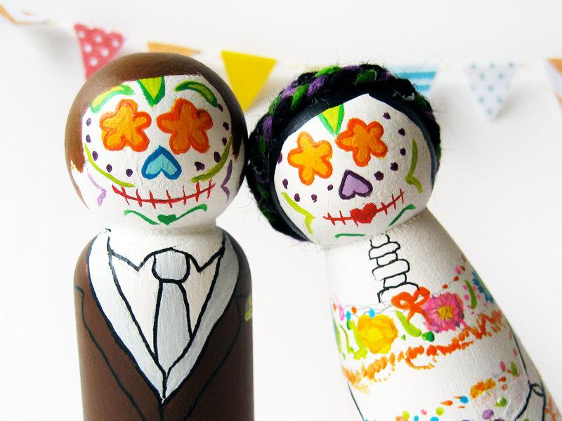 Hochzeit - Day of the Dead Cake toppers Sugar skull bride and groom, Custom