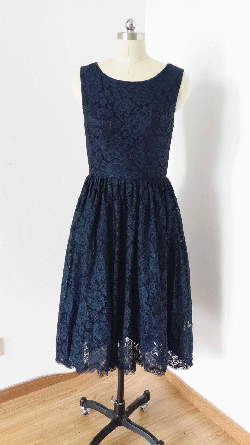 Hochzeit - 2015 Scoop Navy Blue Lace Short Bridesmaid Dress with Back Buttons