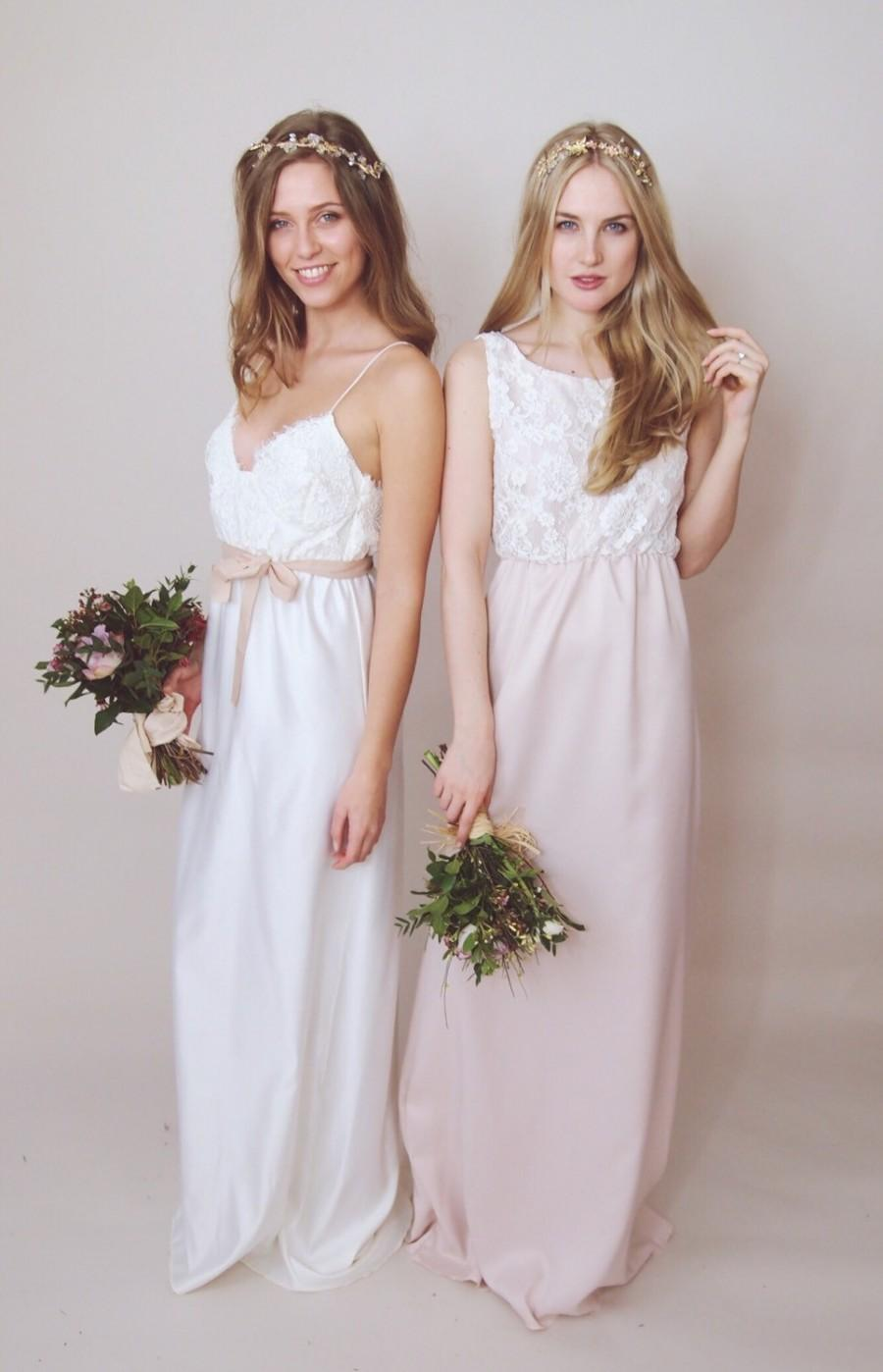 Hollie Lace Maxi Dress Bridesmaid Corded And Ss Satin Soft Pink Dusky Blush Ivory Cream Made To Order
