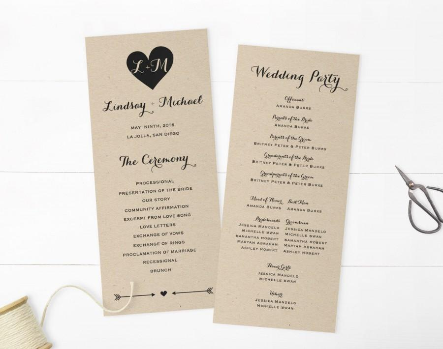 Mariage - Wedding Programs Template,Printable Programs, Instant Download, Editable Artwork and Text Colour, Edit in Word or Pages