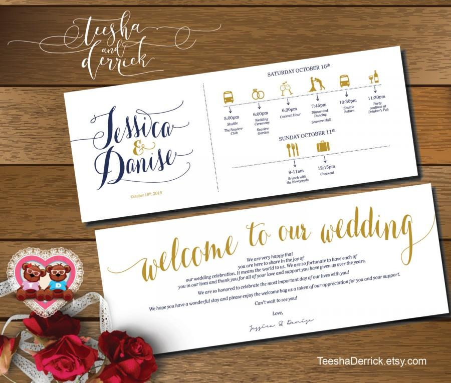 Hochzeit - Printable Wedding Weekend Timeline (t0107) Wedding Itineraries, with welcome note for Welcome Bags  in typography theme theme .