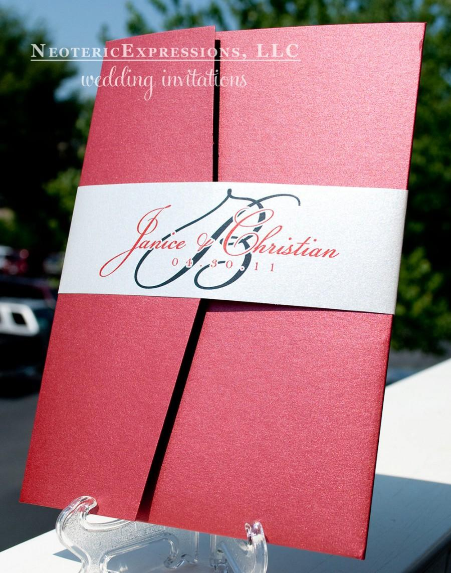 Claret Red And Silver Grey Wedding Invitation Pocketfold #2470510 ...