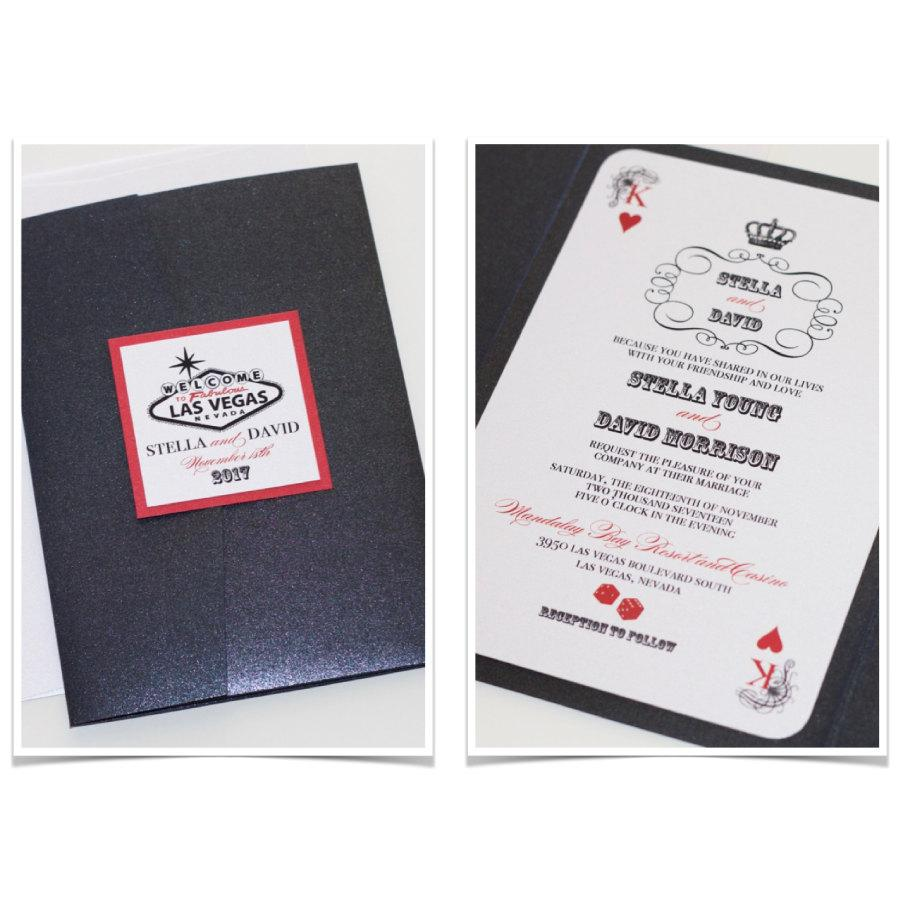 Las Vegas Wedding Invitation Casino Playing Card Themed Party Black Metallic White Red Sle Stella: Las Vegas Theme Wedding Invitations At Websimilar.org