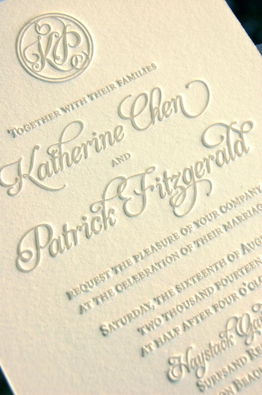Monogram Wedding Invitations, Letterpress Invitations, Soft Gray ...