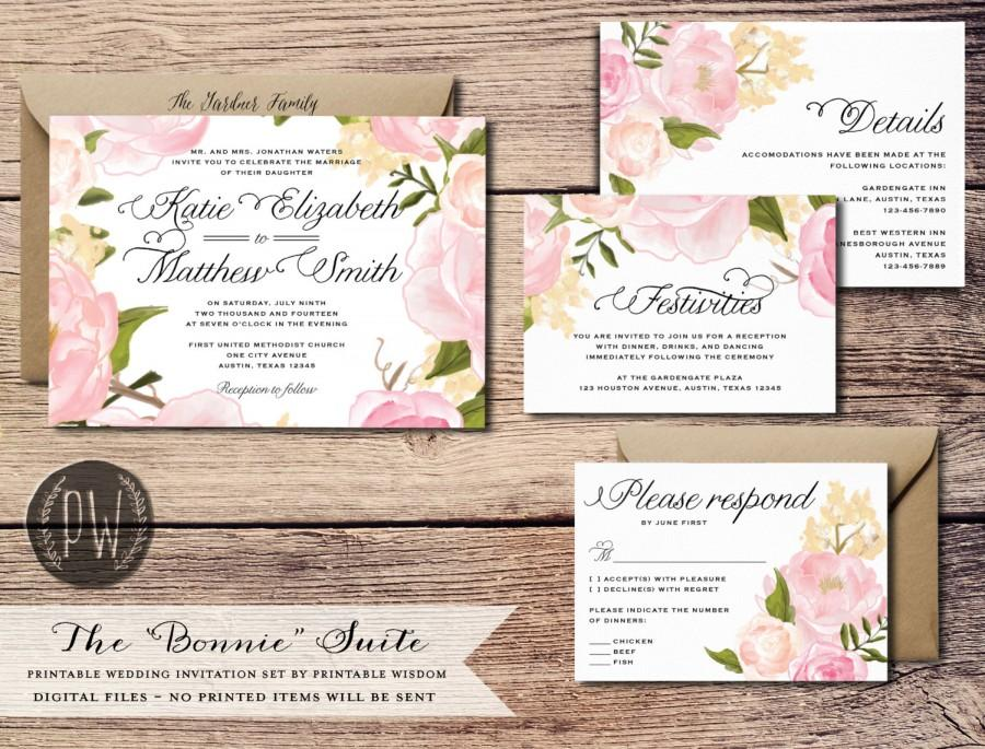 Printable Wedding Invitation Suite Floral Invite Vintage Style Roses Rustic RSVP Card DIY Set Wisdom