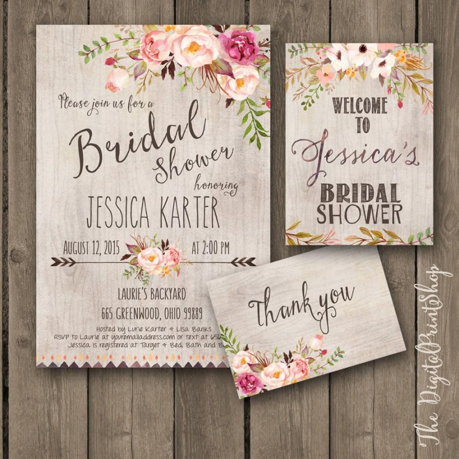 زفاف - Rustic Garden Bridal shower INVITATION invite welcome sign thank you card wood pink peonies burlap chic Printable DIY 171 Digital jpg