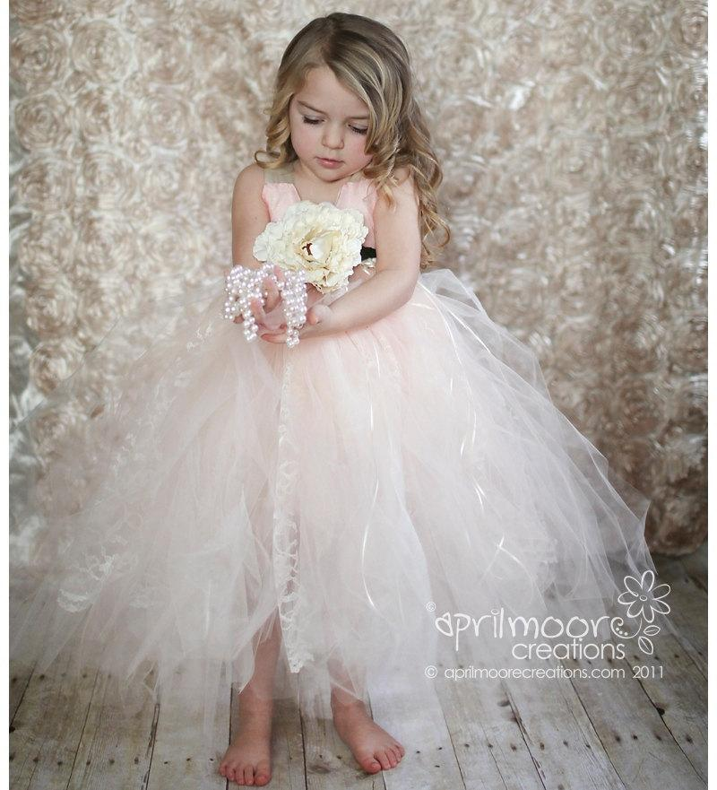 Mariage - Tulle Flower Girl Dress - sizes 6 - 9 Girls - Peach and Ivory