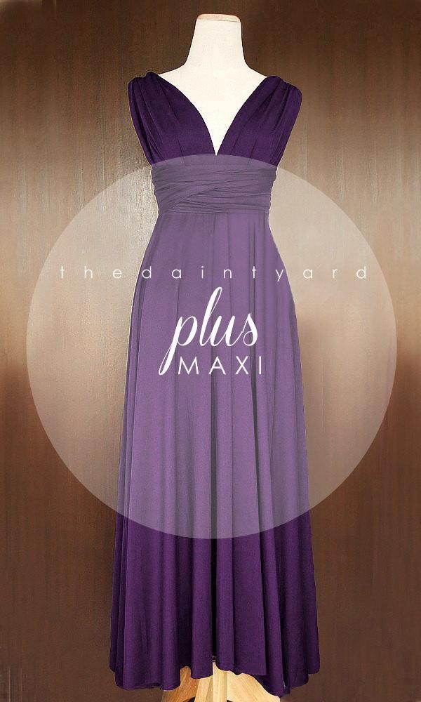 MAXI Plus Size Grape Bridesmaid Dress Convertible Dress Infinity ...