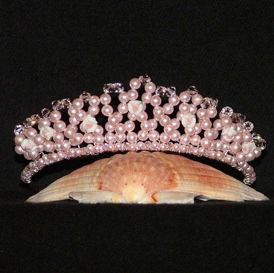 Wedding - Swarovski Crystal Tiara With Ceramic Roses In Pink Rosaline Pearl And Silk Crystal