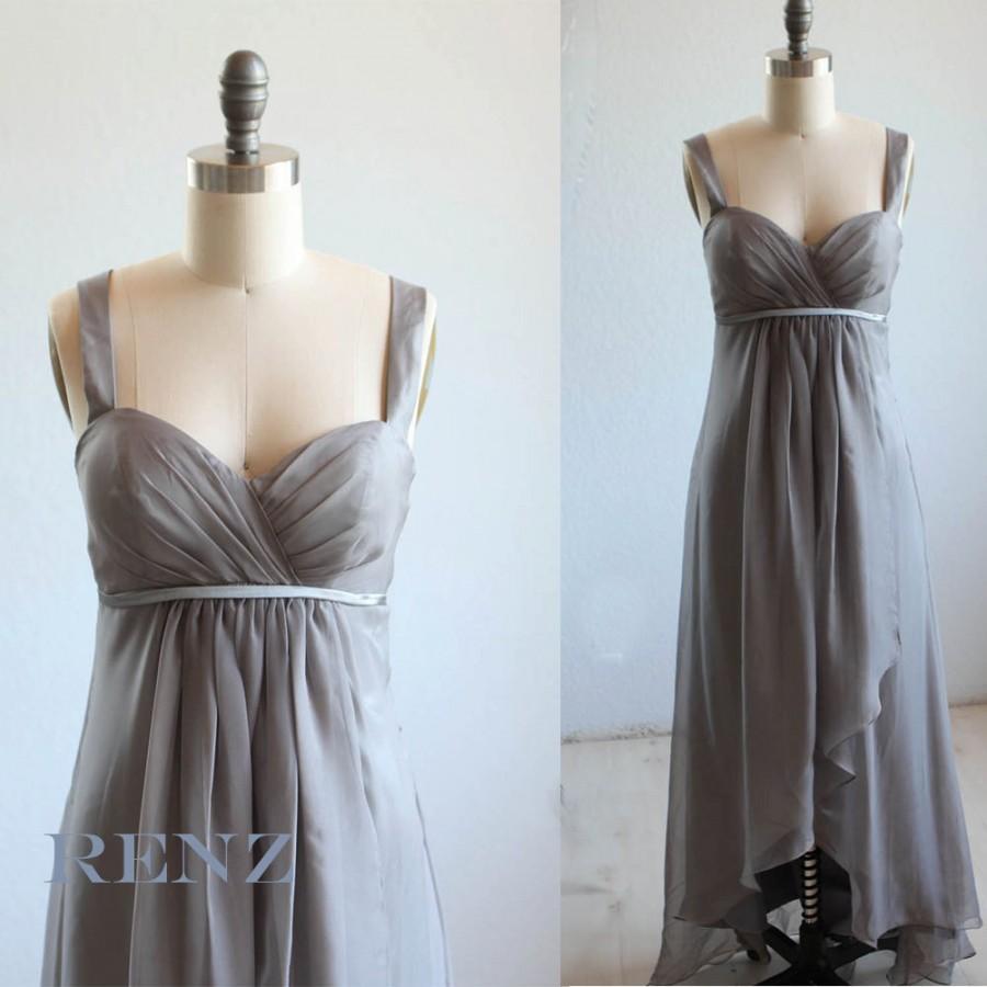 2015 charcoal grey bridesmaid dress empire waist wedding for Charcoal dresses for weddings