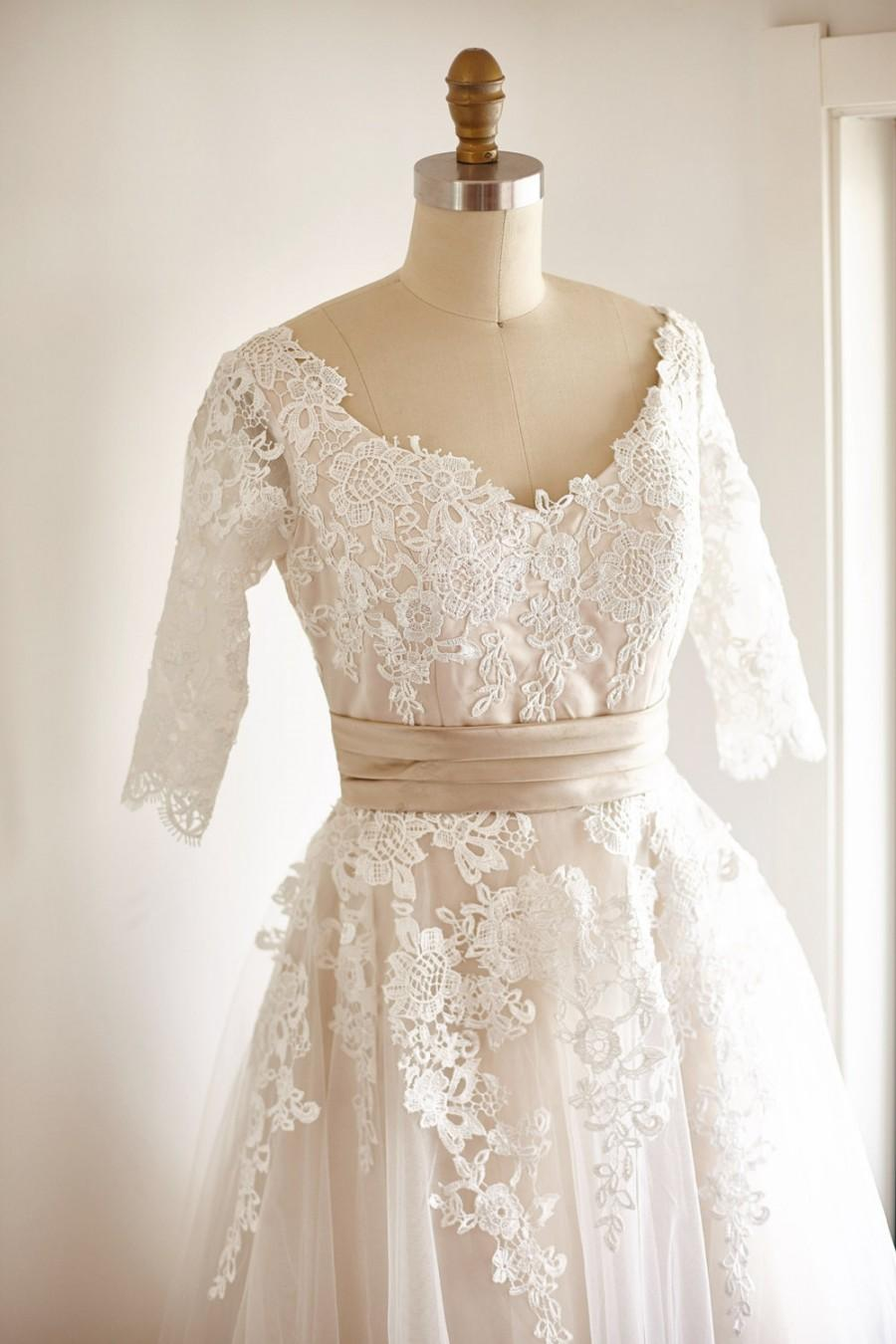Mariage - V Back Elbow Quarter Sleeves Lace Tulle Tea Short Wedding Dress  Bridal Gown with Champagne Lining