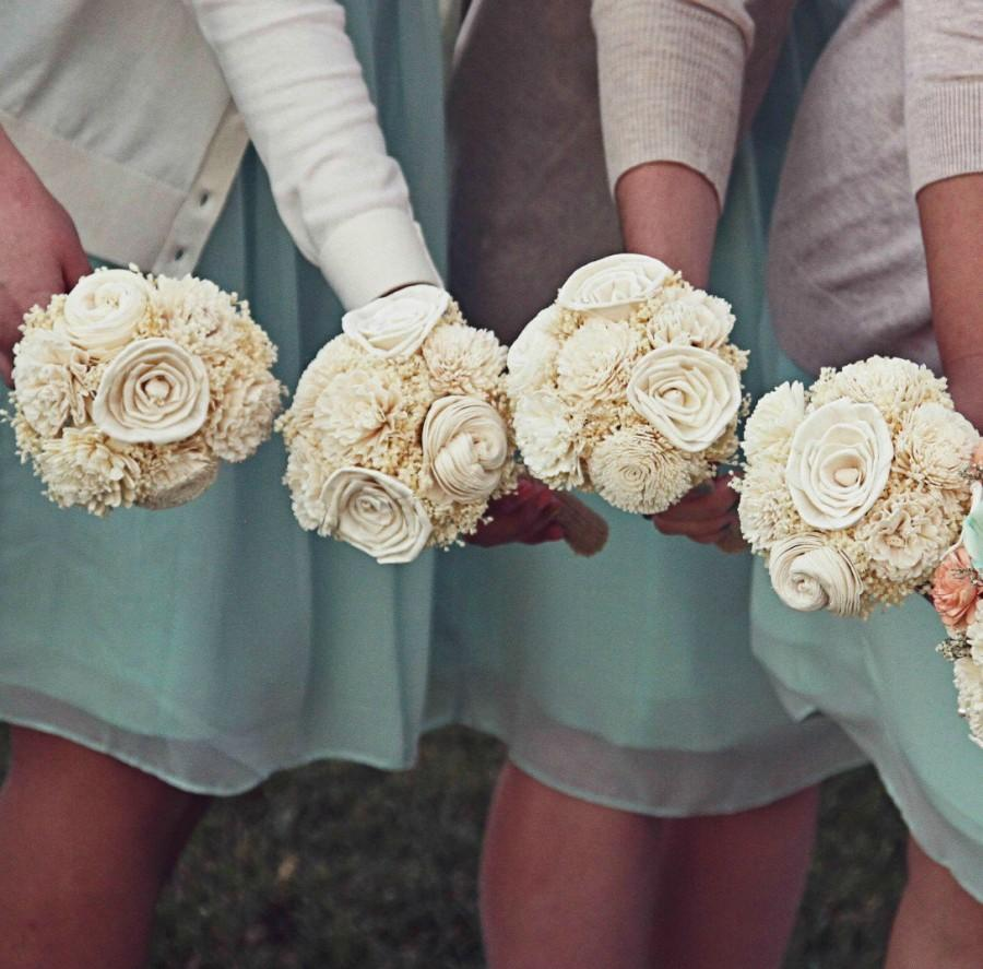 Ready To Ship 19 Bridesmaid Bouquet Toss Or Flower Girl Ivory White
