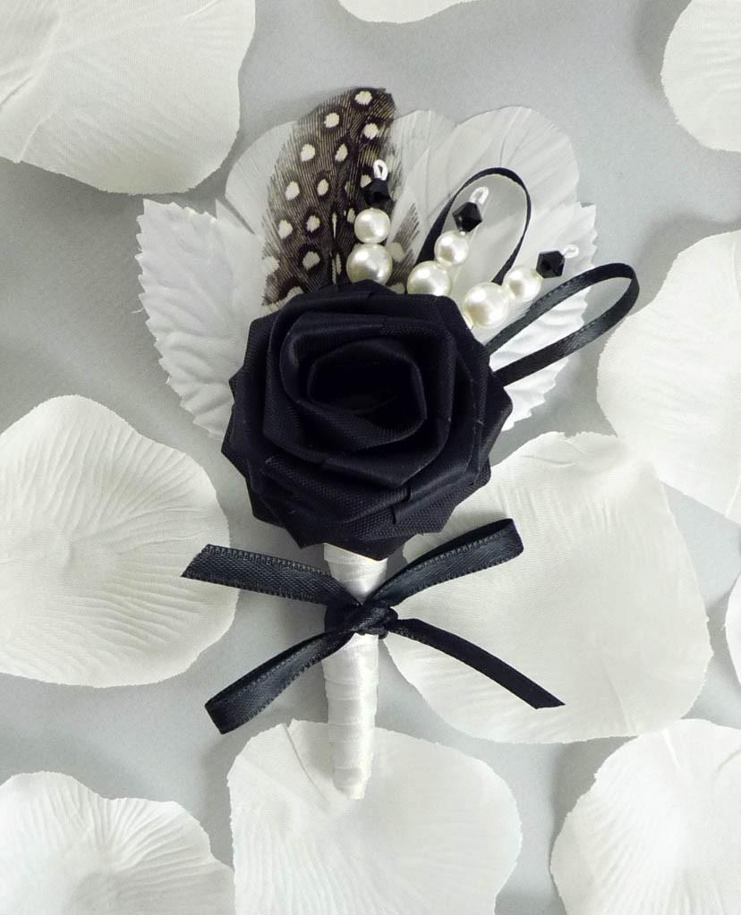 Mariage - Lux Chic Origami Boutonniere, Wedding Boutonniere, Black and White Boutonniere
