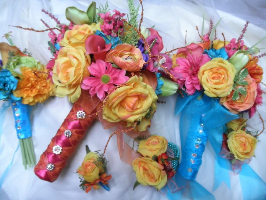 Свадьба - Big set Tropical Wedding Flowers. 1 Bridal Bouquet, 2 Bridesmaid 10 Boutonnieres. 2 Corsages. Beach Destination.Turquoise Orange Pink Coral