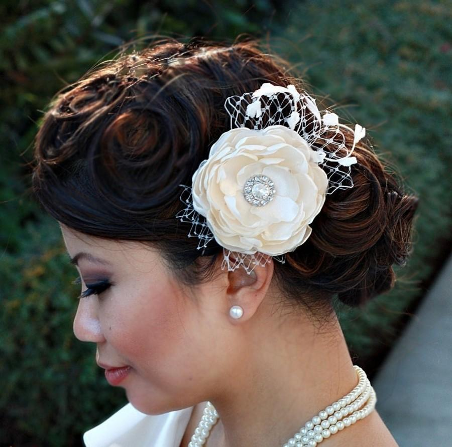 Wedding - Flower Fascinator with Veiling & Vintage Accents-Penelope