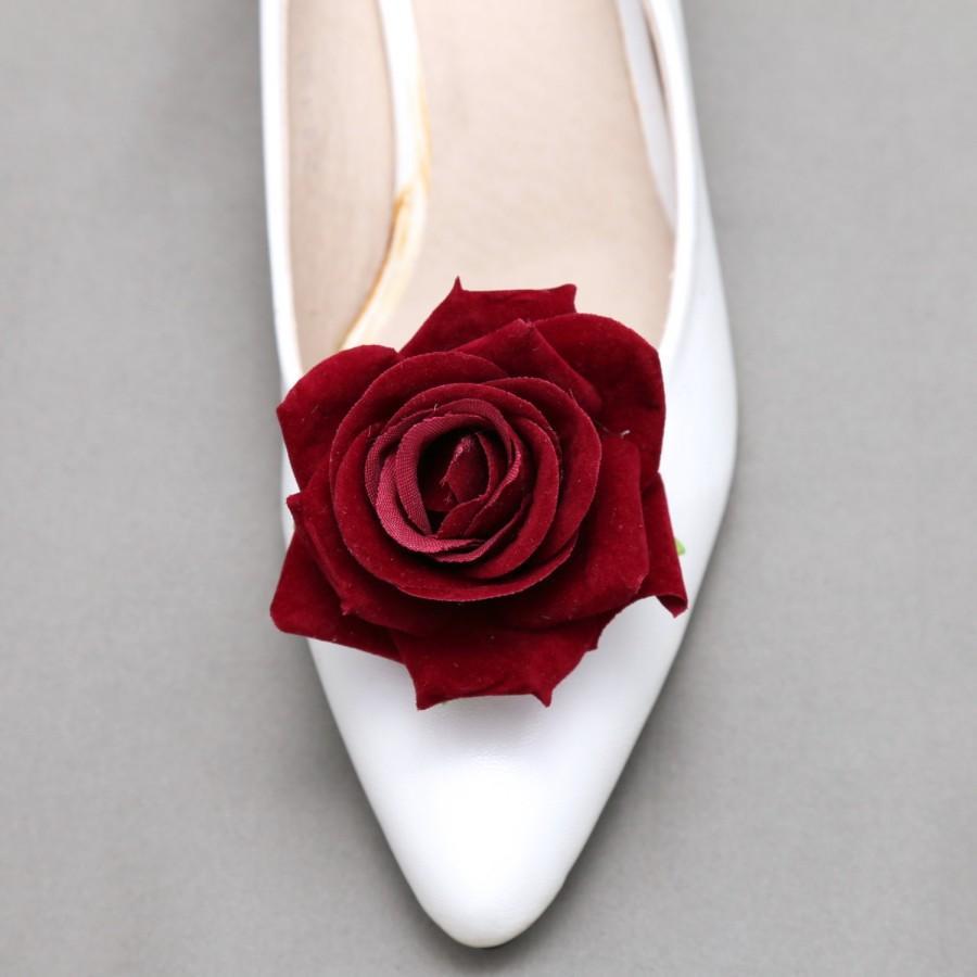 Wedding - Set of 2 - Rose Shoe Clips, Shoe Clips, Christmas Shoe Clips, Bridal Clips, Flower Shoe Clips, Red Shoe Clips