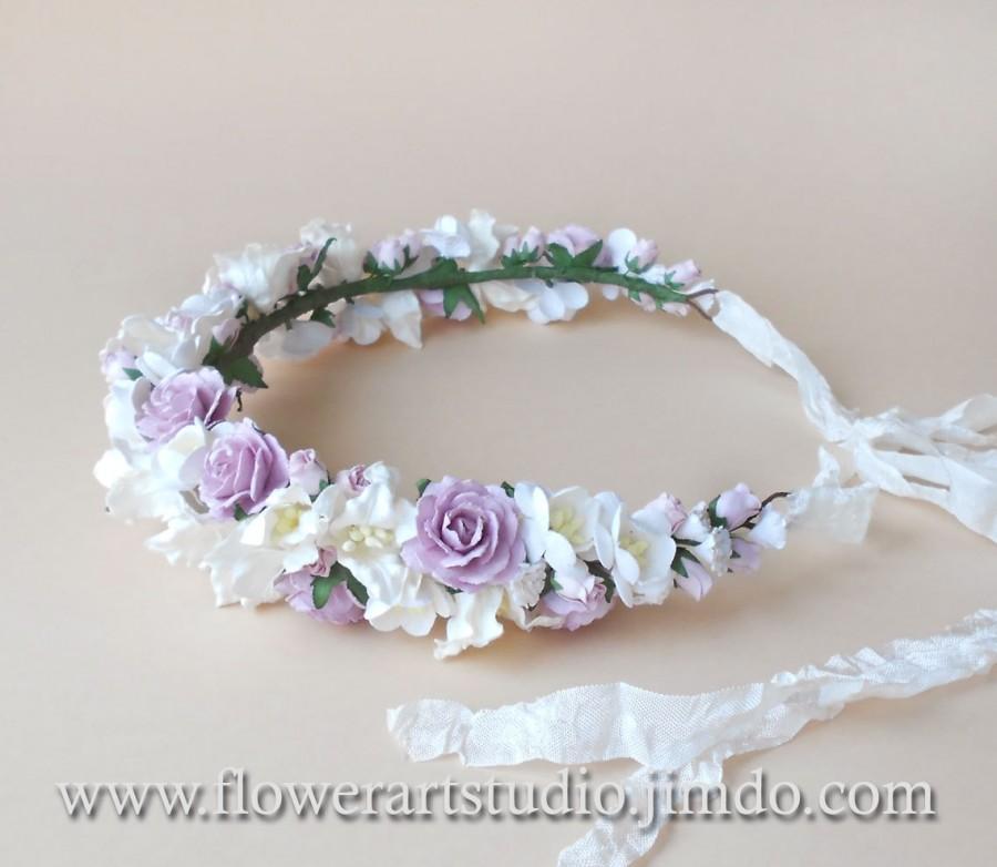 Свадьба - Lilac and White Flower Crown, Rustic Wedding Wreath, Bridal Hair Wreath, Coachella festival crown, Bohemian style crown, Woodland Wedding.