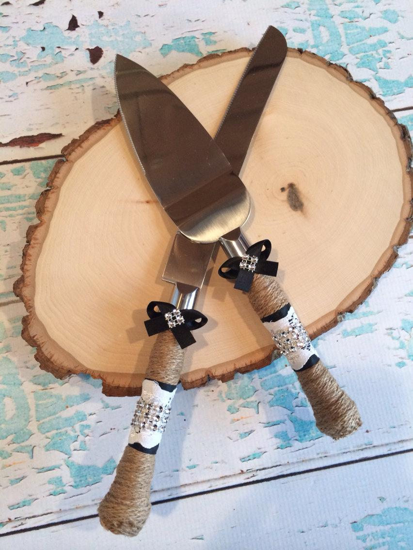 Wedding Cake Knife Set Burlap Cutting Rustic Vintage Lace
