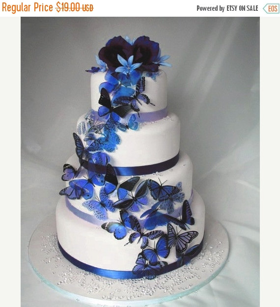 Mariage - NEW YEAR SALE 20 pack of Dark Blue Butterflies great for Cake Toppers