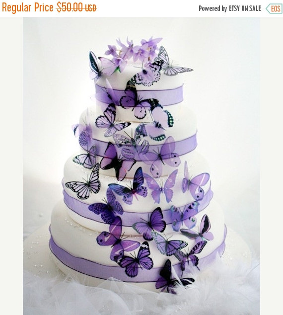 Mariage - NEW YEAR SALE 50 Mauve and Purple Mixed Butterflies great for Cake Toppers,  table decorationsand invitations