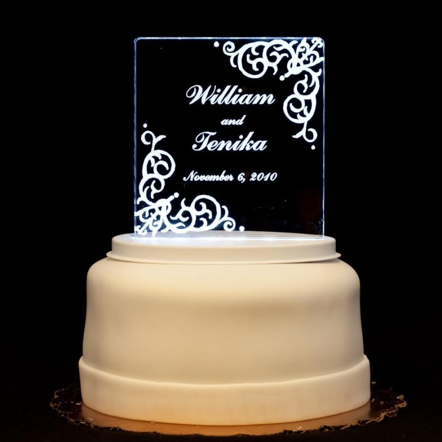 Wedding - Vintage Acrylic Wedding Cake Topper - Engraved and Personalized - 2 Styles - Light OPTION
