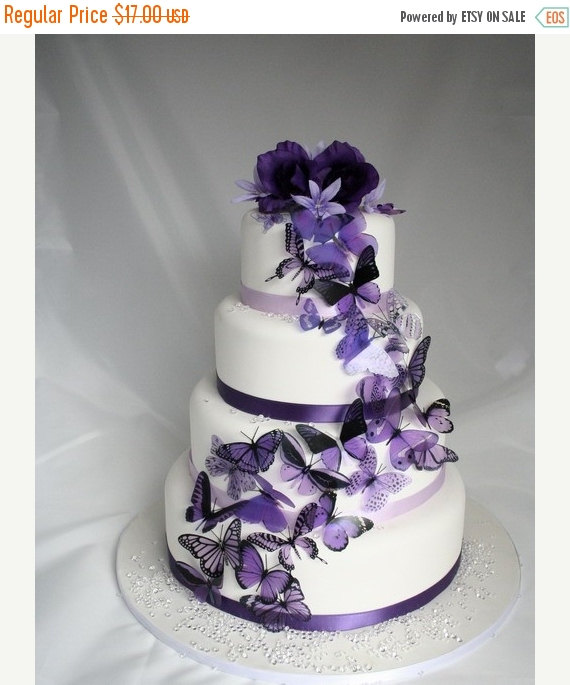 Mariage - NEW YEAR SALE 20 pack of Purple Butterflies great for Cake Toppers