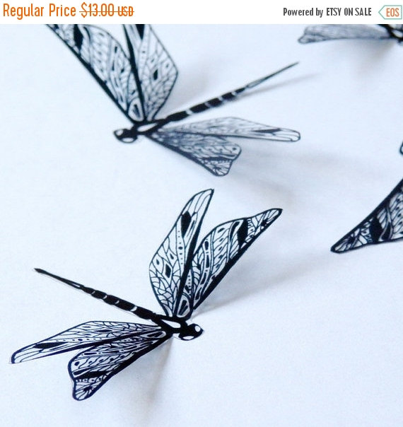 New Year Sale Df015 12 X 3d Black Dragonflies For Scrapbooking