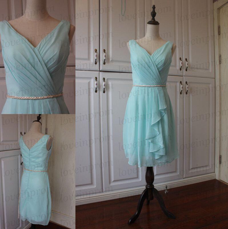Mariage - Mint green bridesmaid dress,handmade chiffon prom dress,wedding party dress,bridesmaid gown
