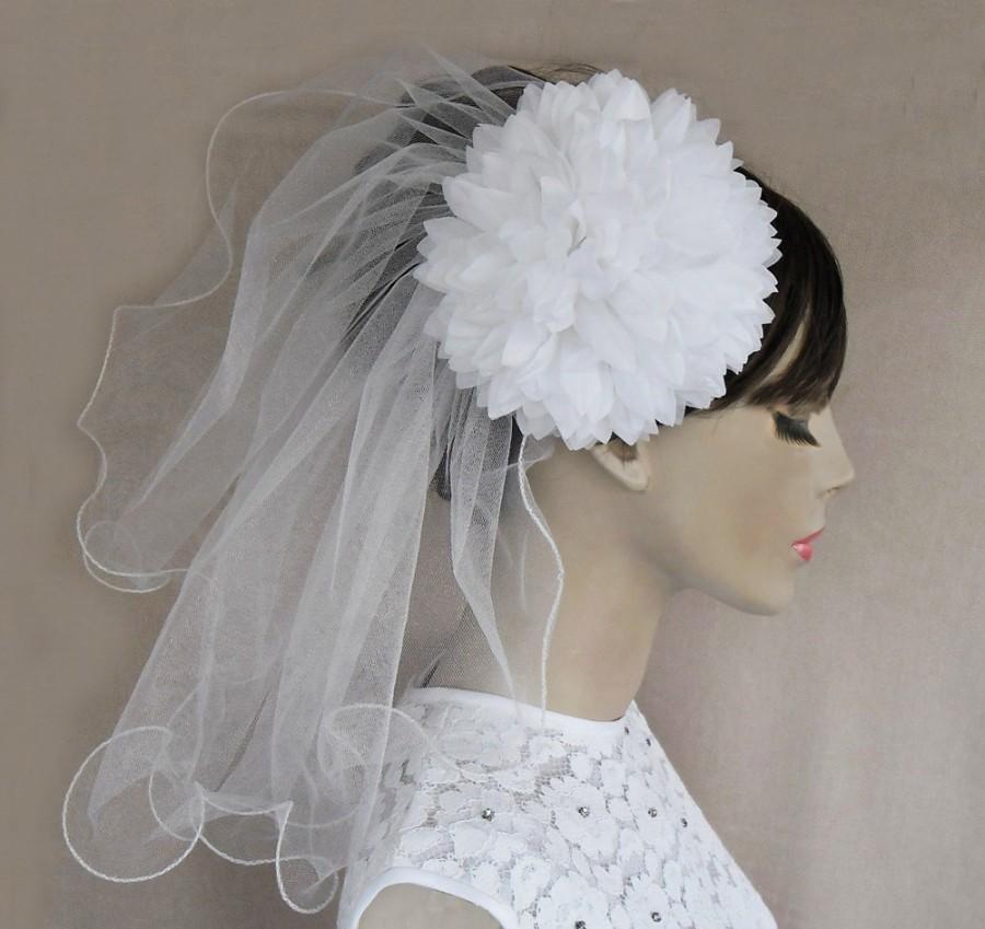Hochzeit - Bridal Tulle Mini Veil with Silk Hair Flower Detachable Chrisanthemum Alternative Wedding Handmade