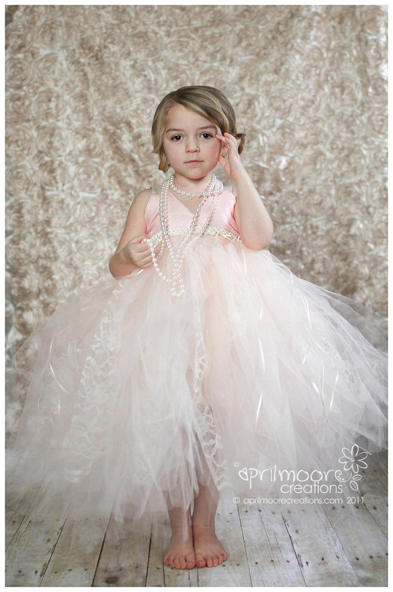 Wedding - Blush and Ivory Tulle Flower Girl Dress - size 1T to 5T