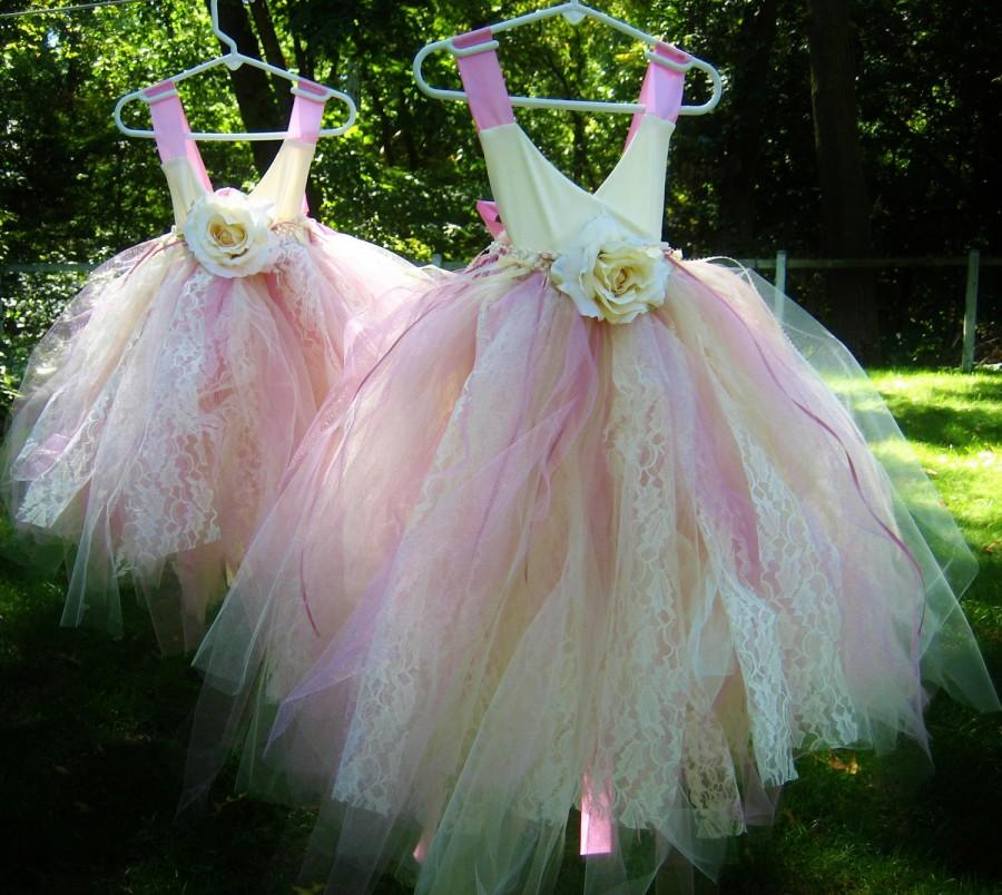 Mariage - Tulle Flower Girl Dress - size 1T to 5T Pink and Ivory