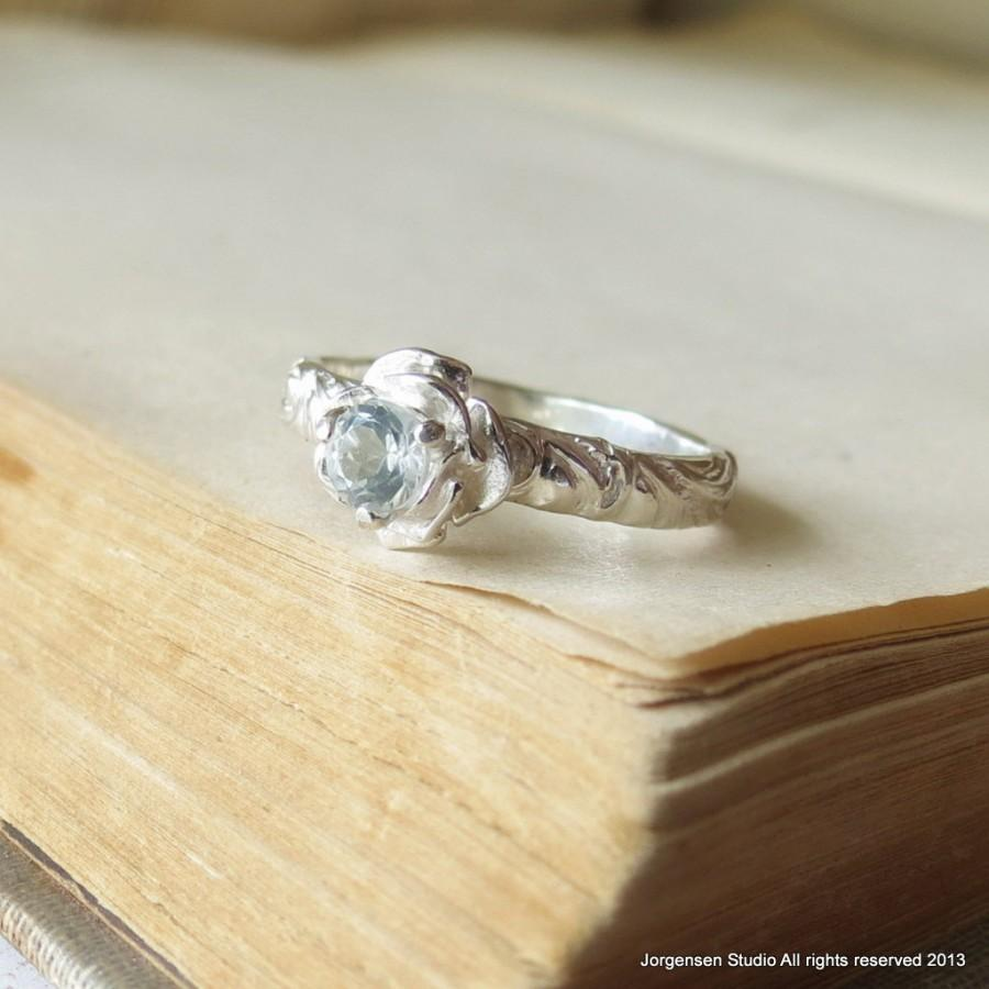 Hochzeit - Flower Engagement Ring 4mm White Topaz Gemstone Ring Sterling Silver Sweetest Promise Ring