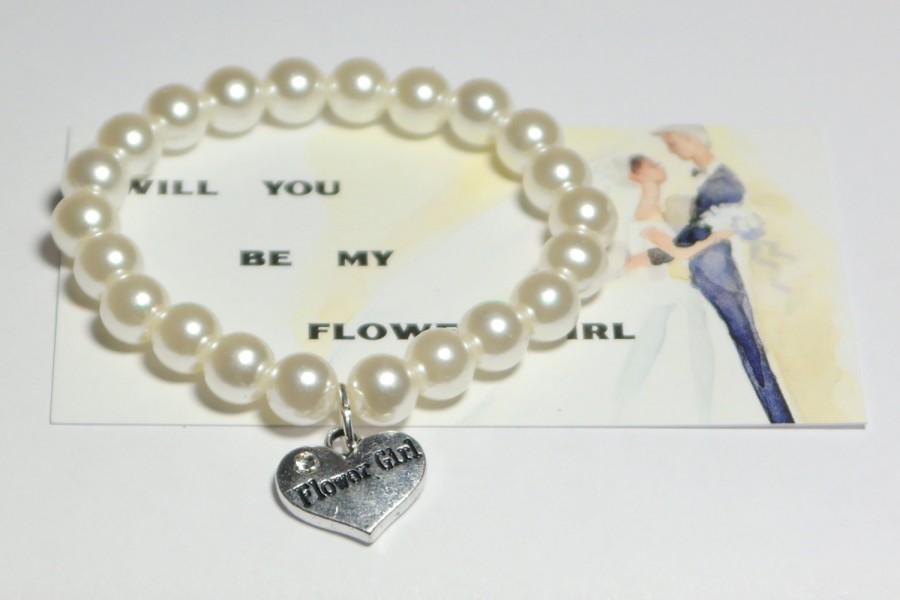 Hochzeit - flower girl bracelet - be my flower girl - ask flower girl - childrens bracelet - flower girls - wedding flower girl - handmade bracelet