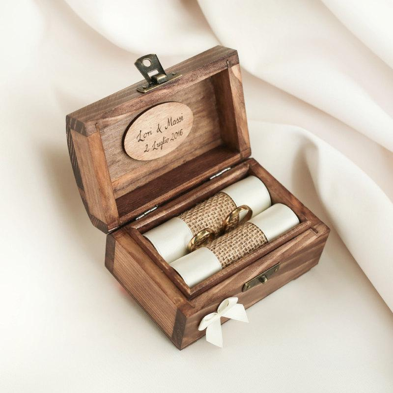 Personalized wedding ring box wooden ring box ring for Cute engagement ring boxes