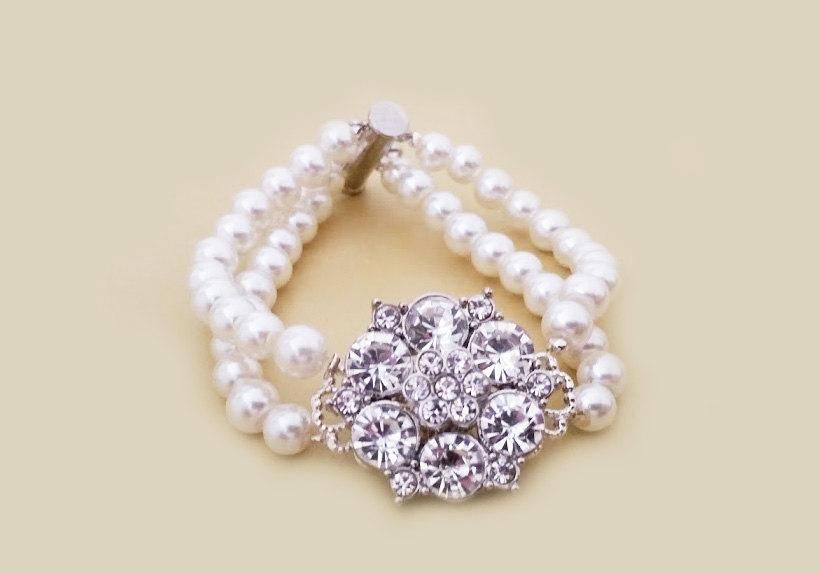 Wedding - Bridal Bracelet, Rhinestone Wedding Bracelet, Art Deco Style Pearl Bracelet, Wedding Bridal Bracelet Bridal Jewelry White Ivory Pearls CHLOE