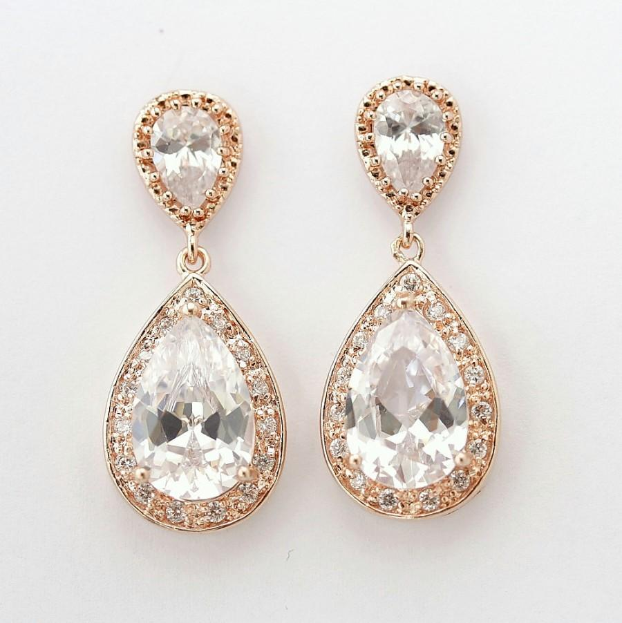 Rose Gold Earrings Bridal Jewelry Cubic Zirconia Large Teardrop Pink Wedding Evelyn