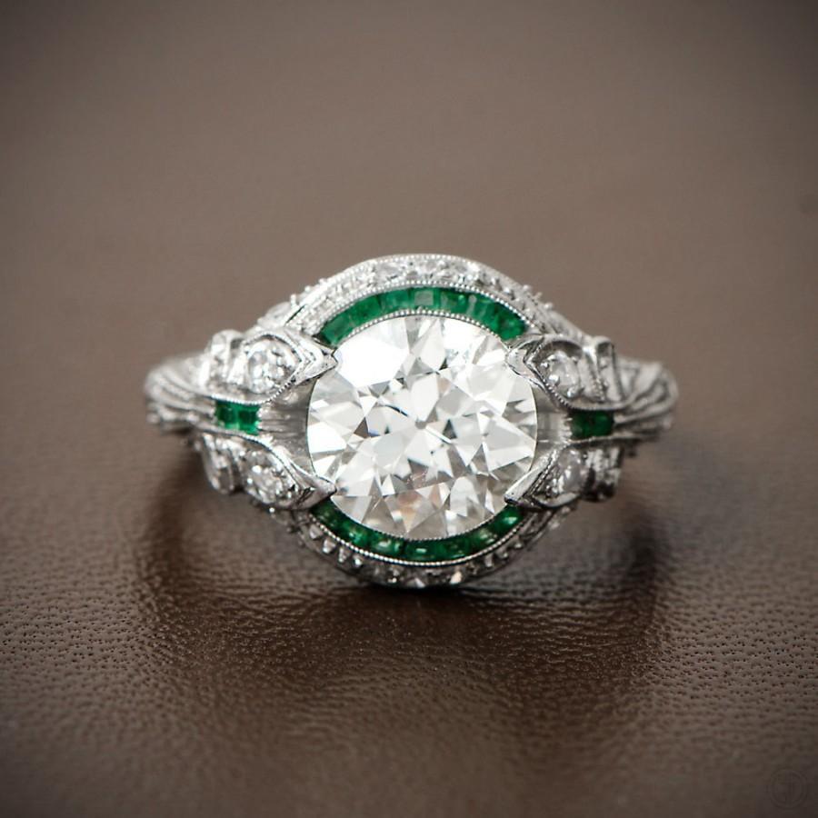 Rare And Pristine Art Deco Engagement Ring  Emerald And Diamond Halo  Bow  Motif Circa 1925