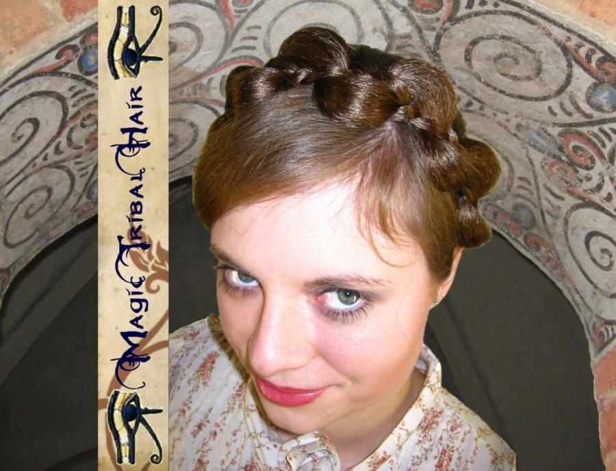 Mariage - CUSTOM elf fairy BRAID HEADBAND hair piece jewelry Fantasy Wedding braided updo Bride braid hair piece Braided wedding tiara Synthetic hair