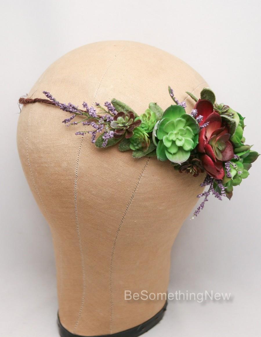 Succulent Flower Crown Wedding Headband Flower Headpiece Rustic